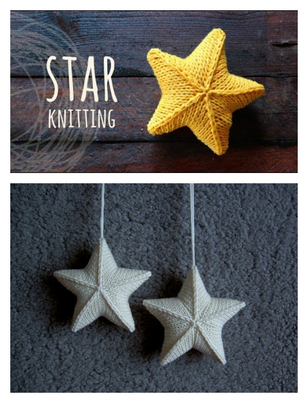 3D Star Ornament Free Knitting Pattern and Video Tutorial
