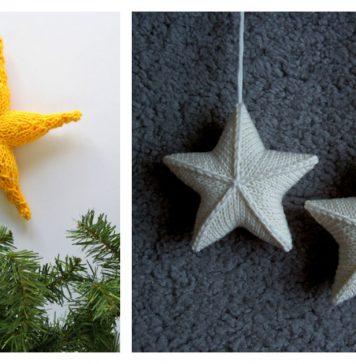 3D Star Ornament Free Knitting Pattern