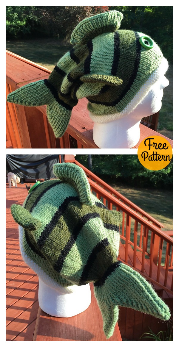 Adult Size Fish Hat Free Knitting Pattern