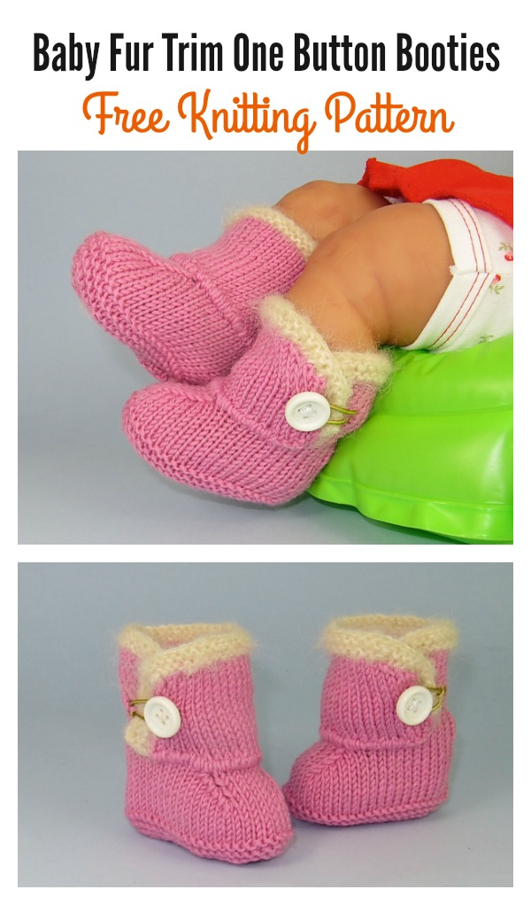 Baby Fur Trim One Button Booties Free Knitting Pattern