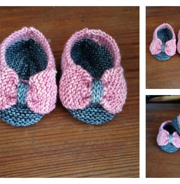 Baby Slippers with Bow Free Knitting Pattern