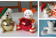 Christmas Bear & Cat Baubles Free Knitting Pattern