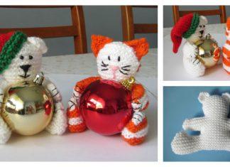 Christmas Bear & Cat Baubles Free Knitting Pattern