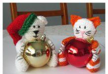 Christmas Bear & Cat Bauble Holder Free Knitting Pattern