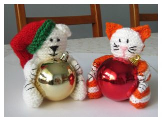 Christmas Bear & Cat Bauble Holder Free Knitting Pattern