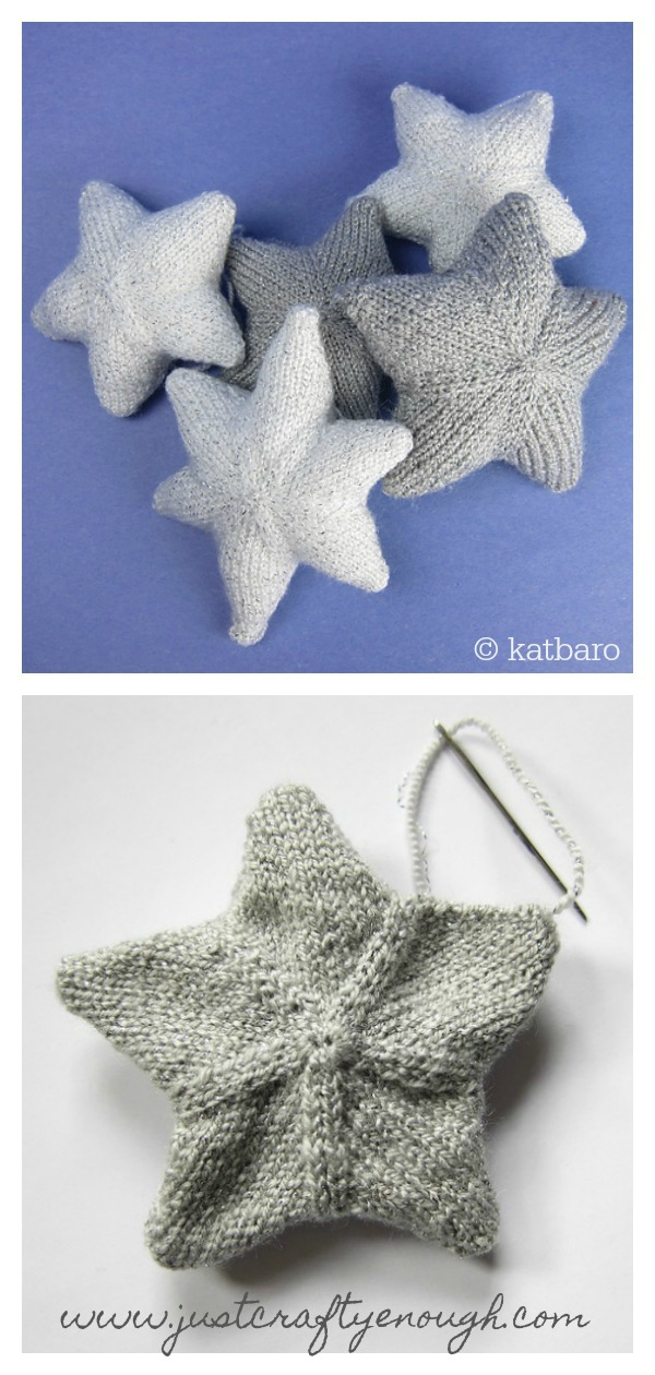 Christmas Tree Star Ornament Free Knitting Pattern