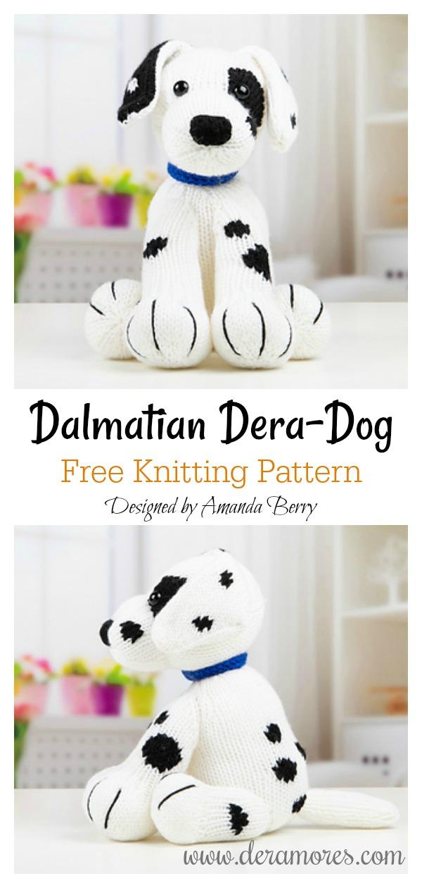 Cute Dalmatian Dera-Dog Free Knitting Pattern