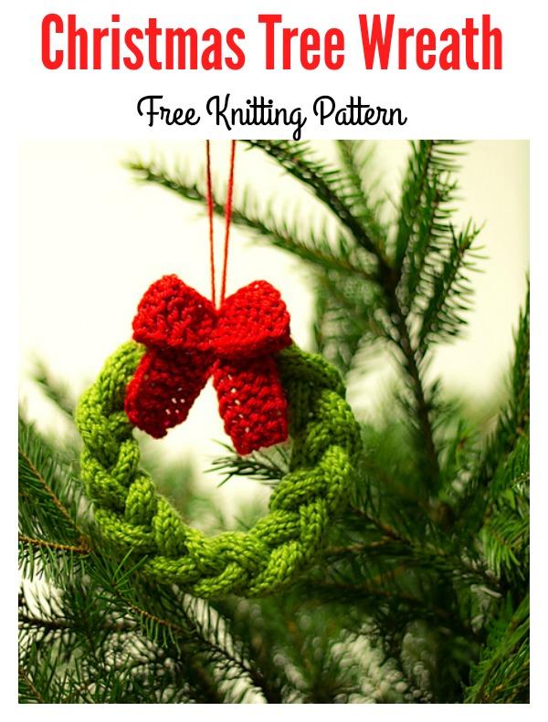 Cute Little Christmas Tree Wreath Free Knitting Pattern