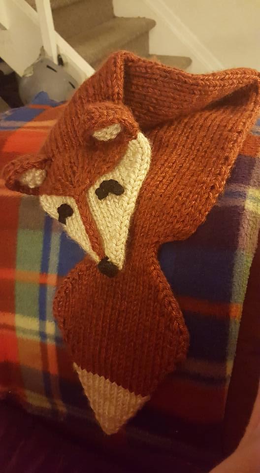 Foxy Loxy Fox Scarf Free Knitting Pattern