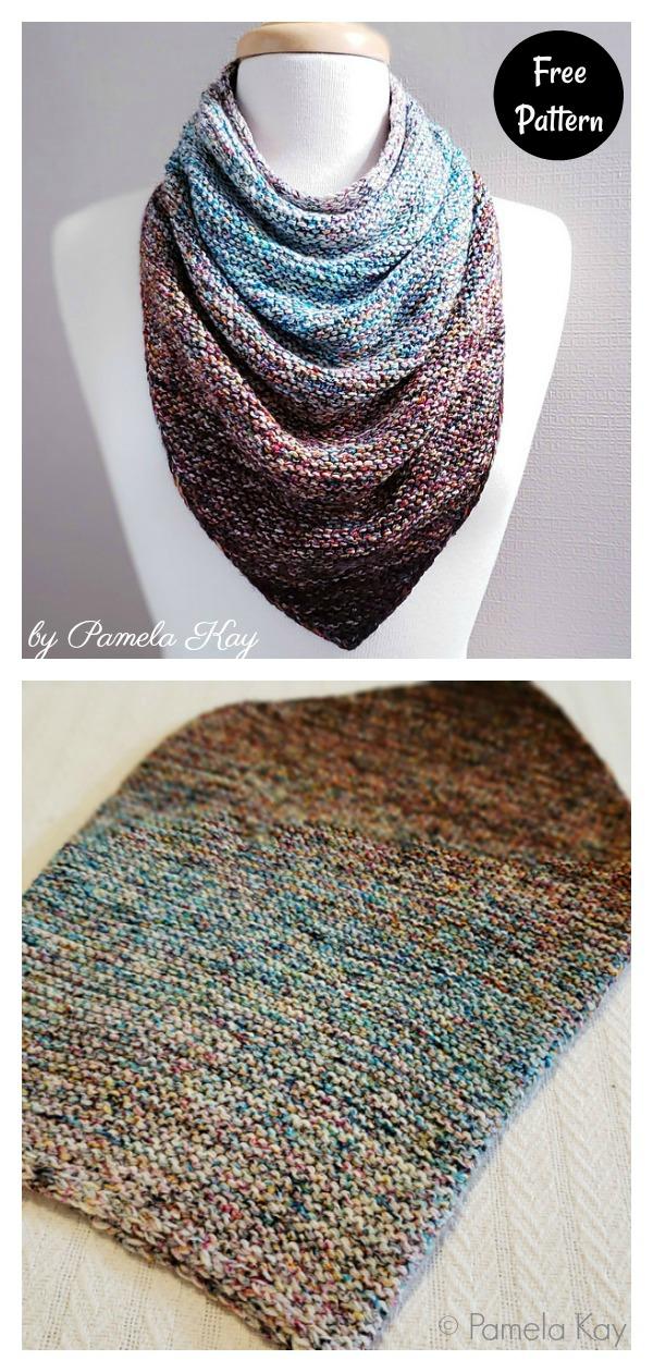Garter Stitch Bandana Cowl Free Knitting Pattern