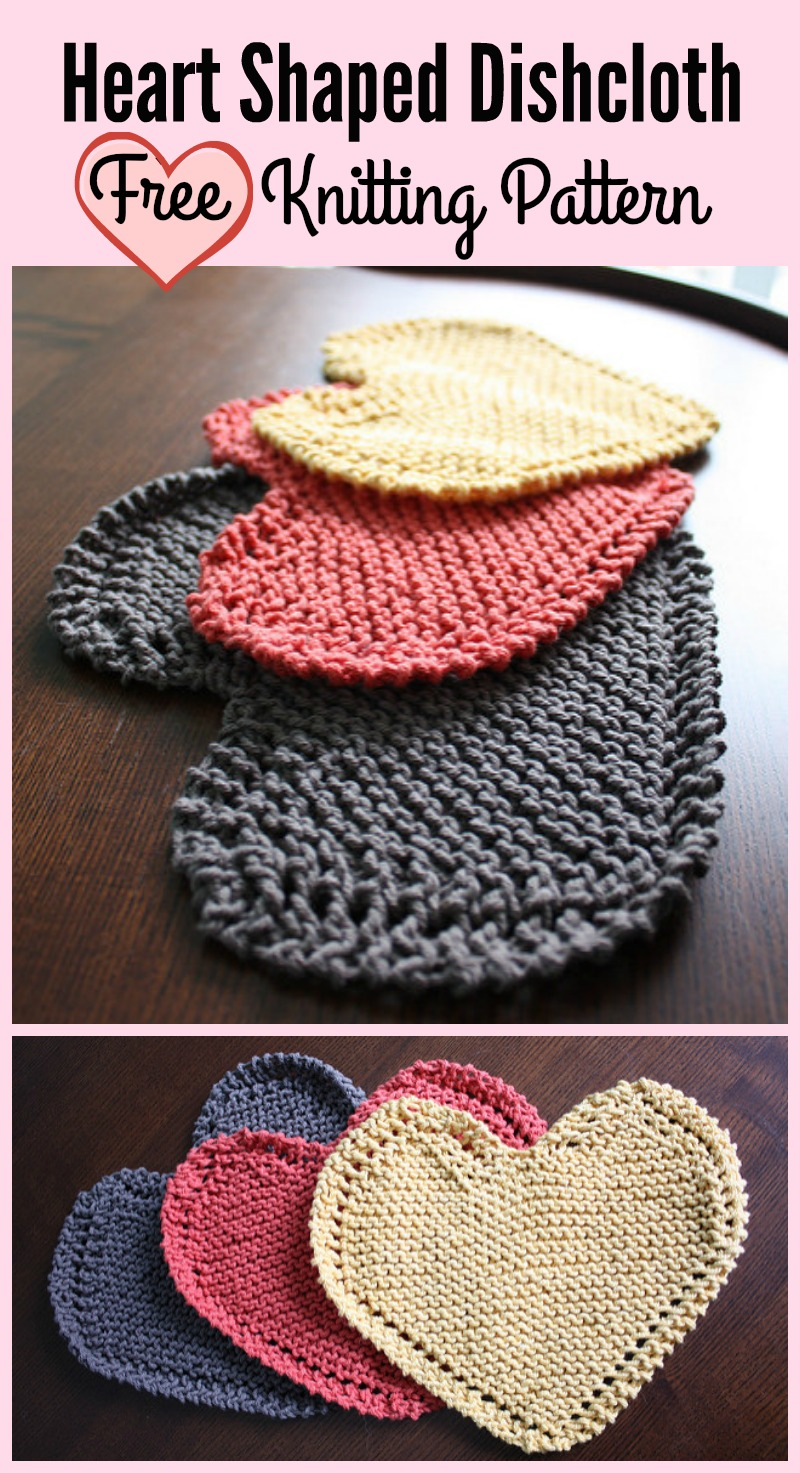 Heart Shaped Dishcloth Free Knitting Pattern