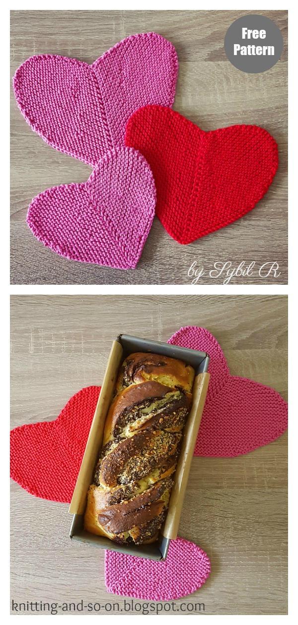 Heart-Shaped Potholder Free Knitting Pattern