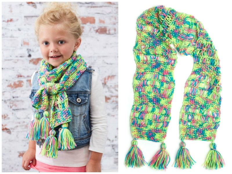 Kids Drop Stitch Scarf Free Knitting Pattern