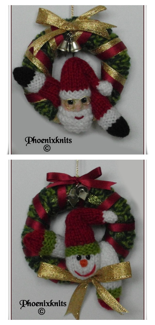 Mini Christmas Wreaths Free Knitting Pattern