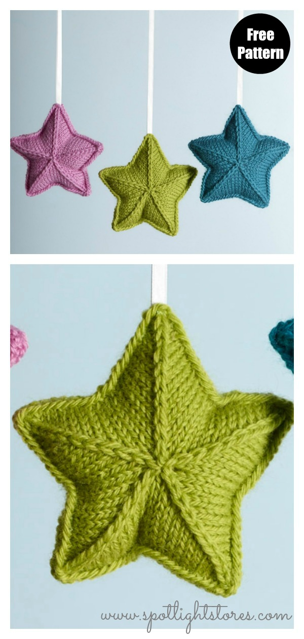 Pure Wool Entwine Christmas Stars Ornament Free Knitting Pattern