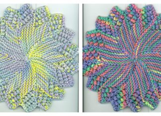 Round Sunburst Dishcloth Free Knitting Pattern