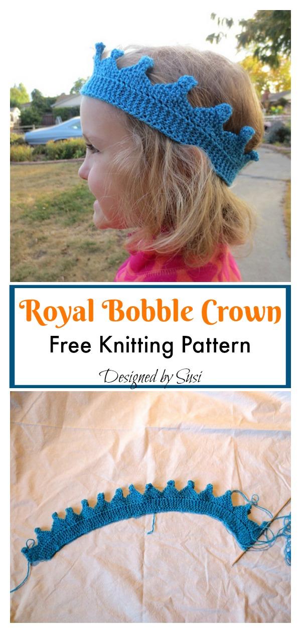 Royal Bobble Crown Free Knitting Pattern