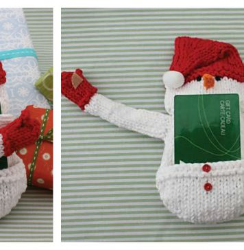 Snowman Gift Card Cozy Free Knitting Pattern