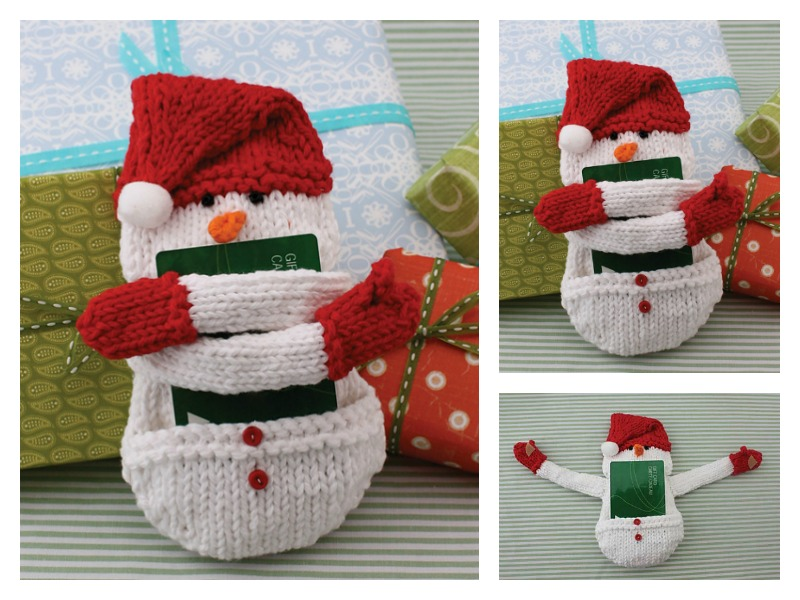 Snowman Gift Card Holder Free Knitting Pattern