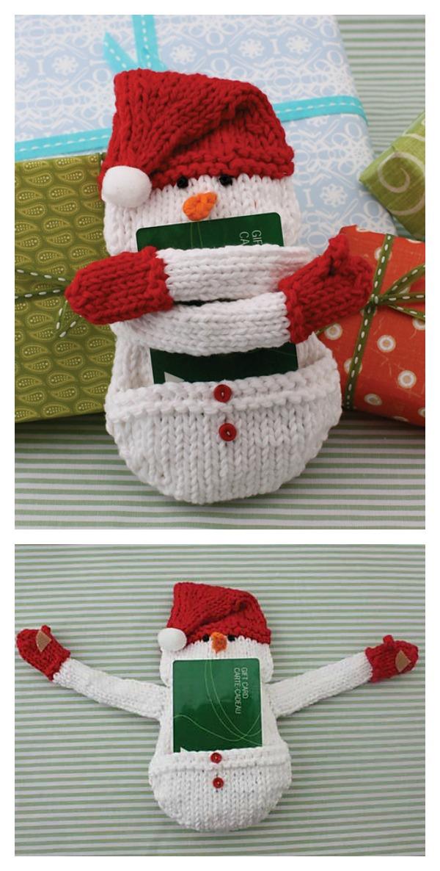 Snowman Gift Card Holder Free Knitting Pattern