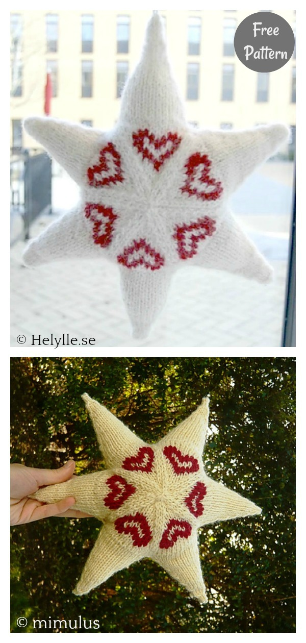 Star With Hearts Ornament Free Knitting Pattern