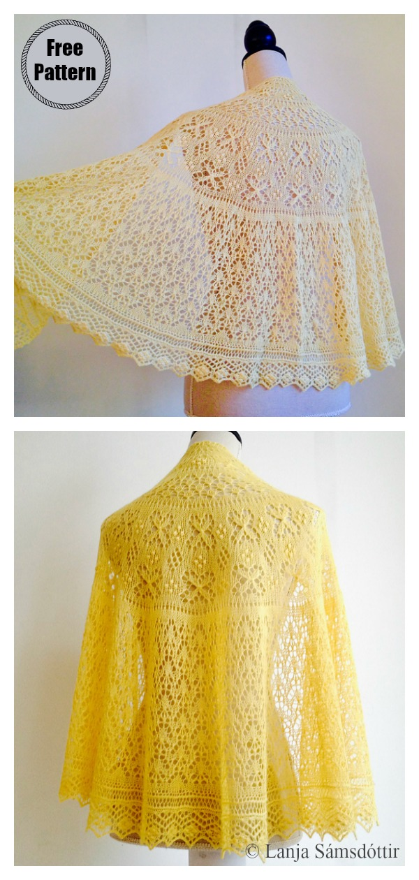 Stars in Springtime Lace Shawl Free Knitting Pattern