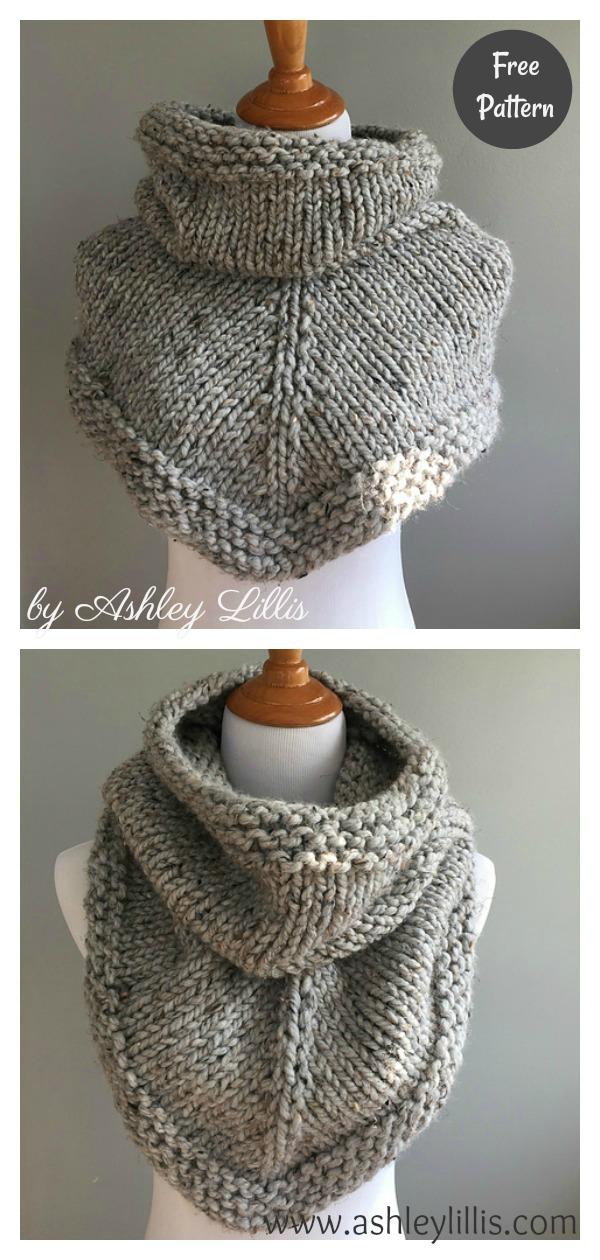 Stockinette Bandana Cowl Free Knitting Pattern