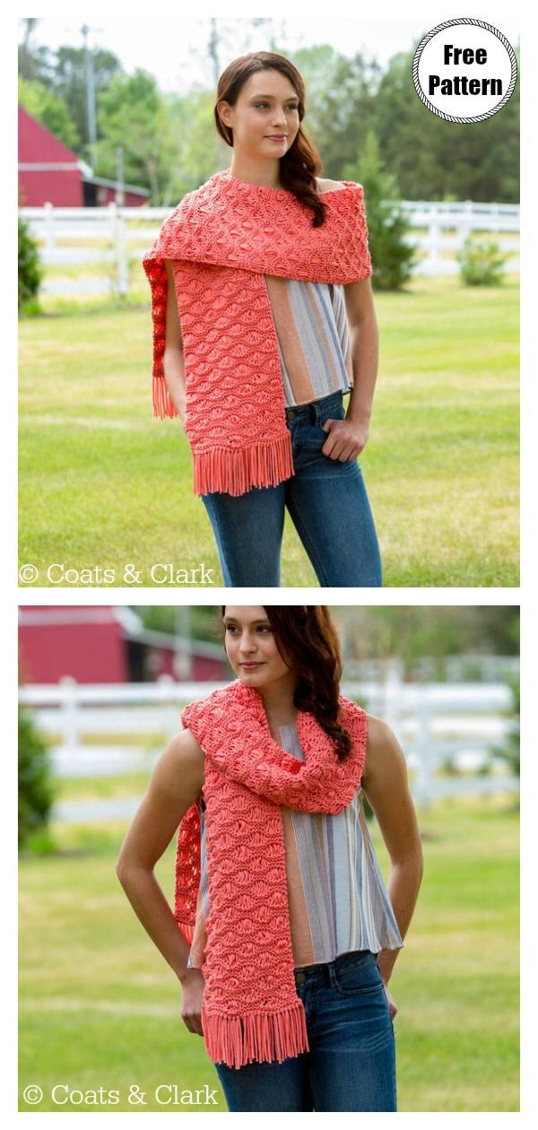 Wavy Drop-Stitch Scarf Free Knitting Pattern