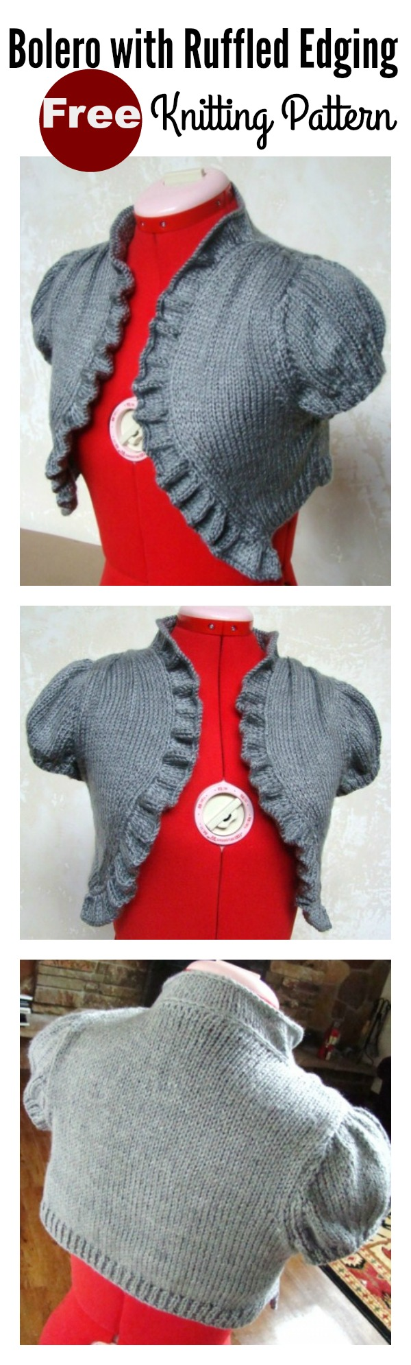 Bolero with Ruffled Edging Free Knitting Pattern