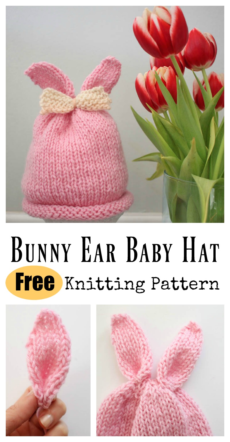 Bunny Ear Baby Hat Free Knitting Pattern