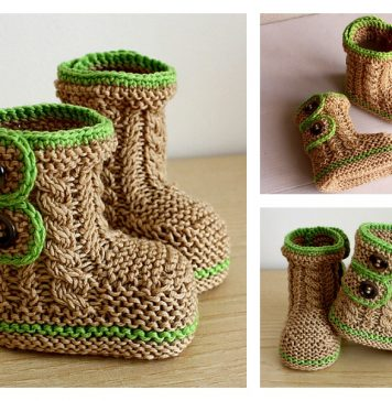 Cable Baby Booties Knitting Pattern