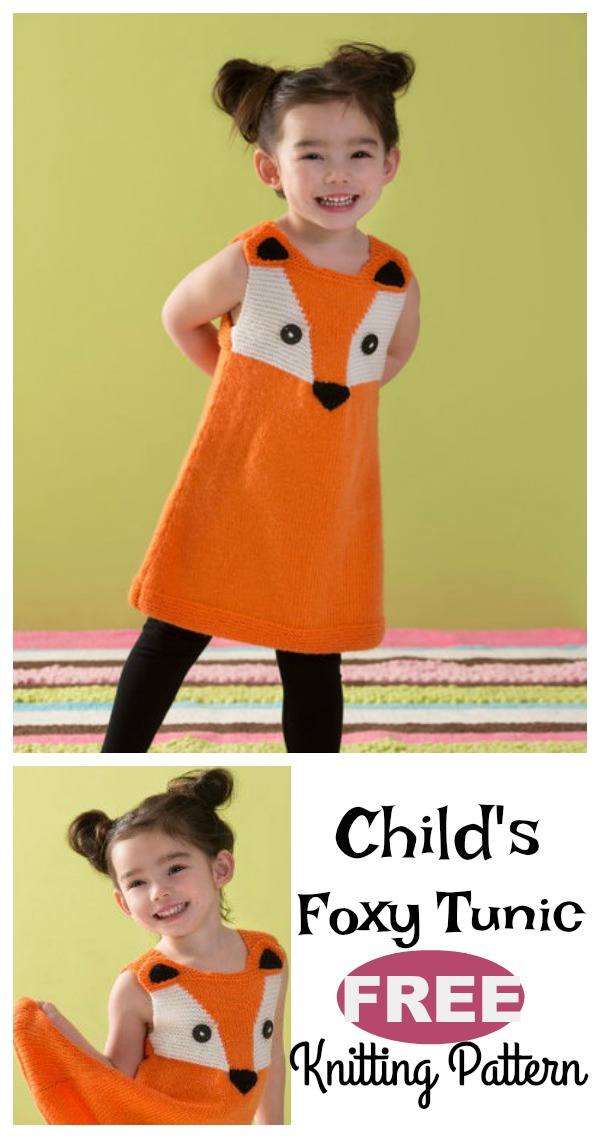 Child's Foxy Tunic Free Knitting Pattern
