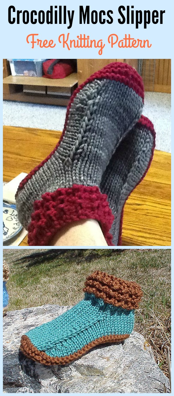 Crocodilly Mocs Slipper Free Knitting Pattern