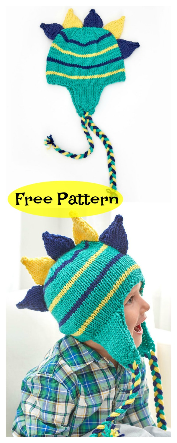Dinosaur Hat Free Knitting Pattern