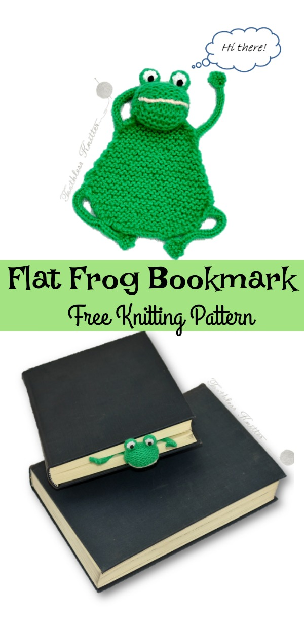 Flat Frog Bookmark Free Knitting Pattern