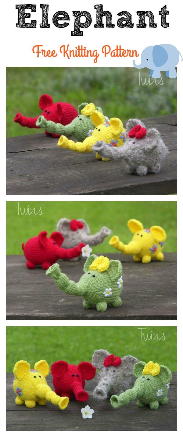 Flower Power Elephants Free Knitting Pattern