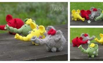 Flower Power Elephants Free Knitting Pattern