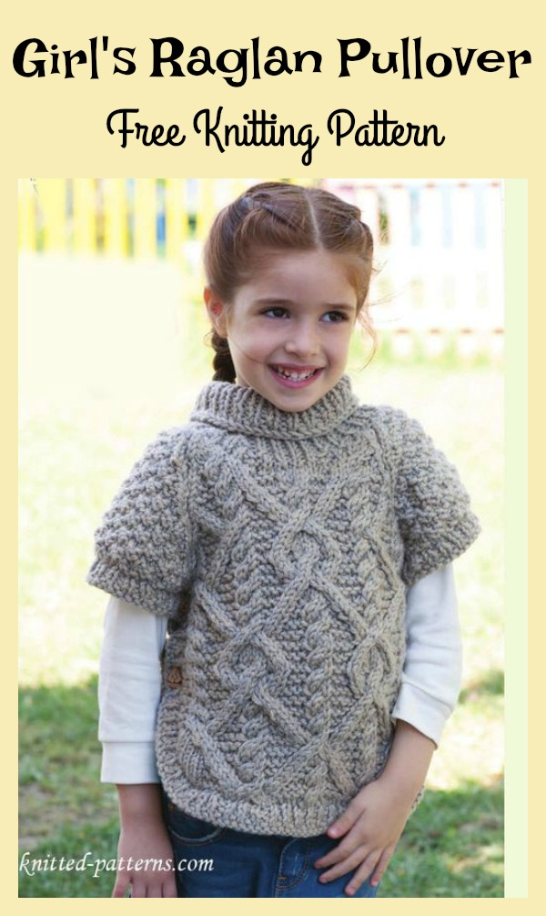 Girls Raglan Pullover Free Knitting Pattern