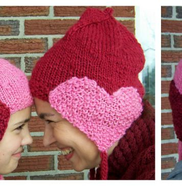 Matching Hearts Hat Free Knitting Pattern