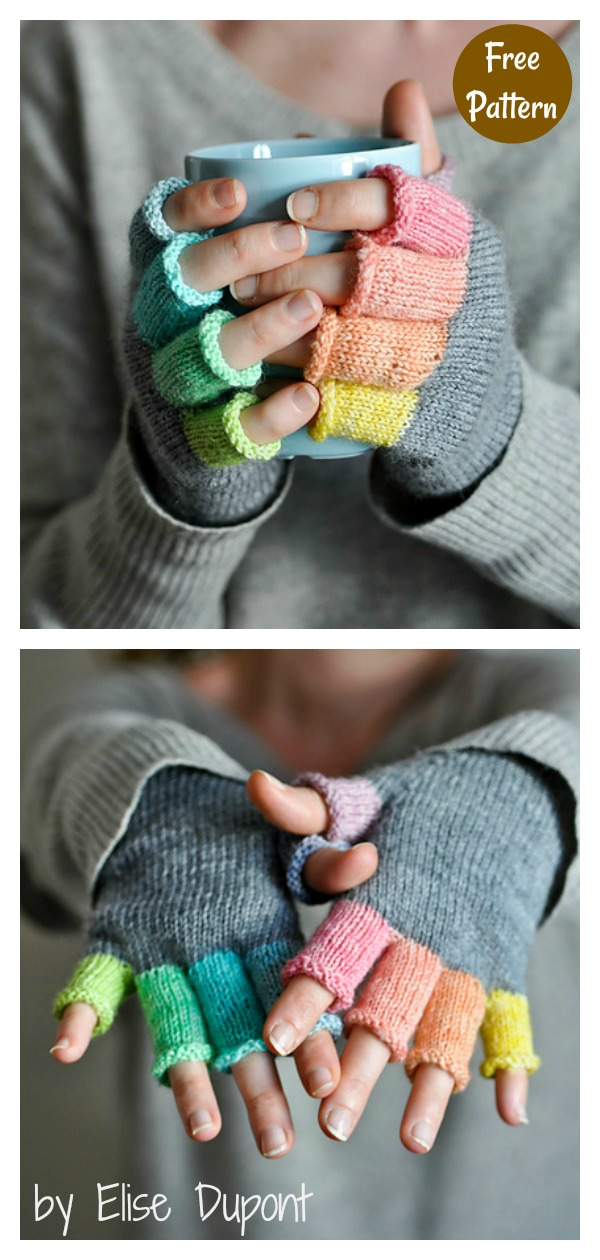 Mitaines Rainbow Tipless Gloves Free Knitting Pattern