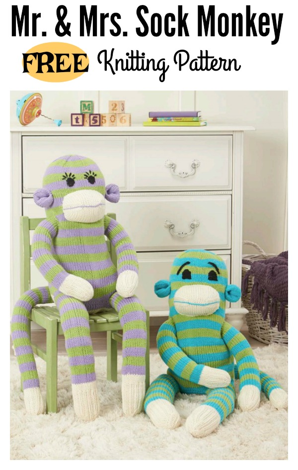 Mr Mrs Sock Monkey Free Knitting Pattern