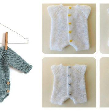 Newborn Romper Free Knitting Pattern and Tutorial
