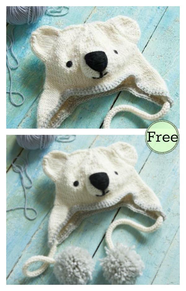 Polar Bear Hat Free Knitting Pattern