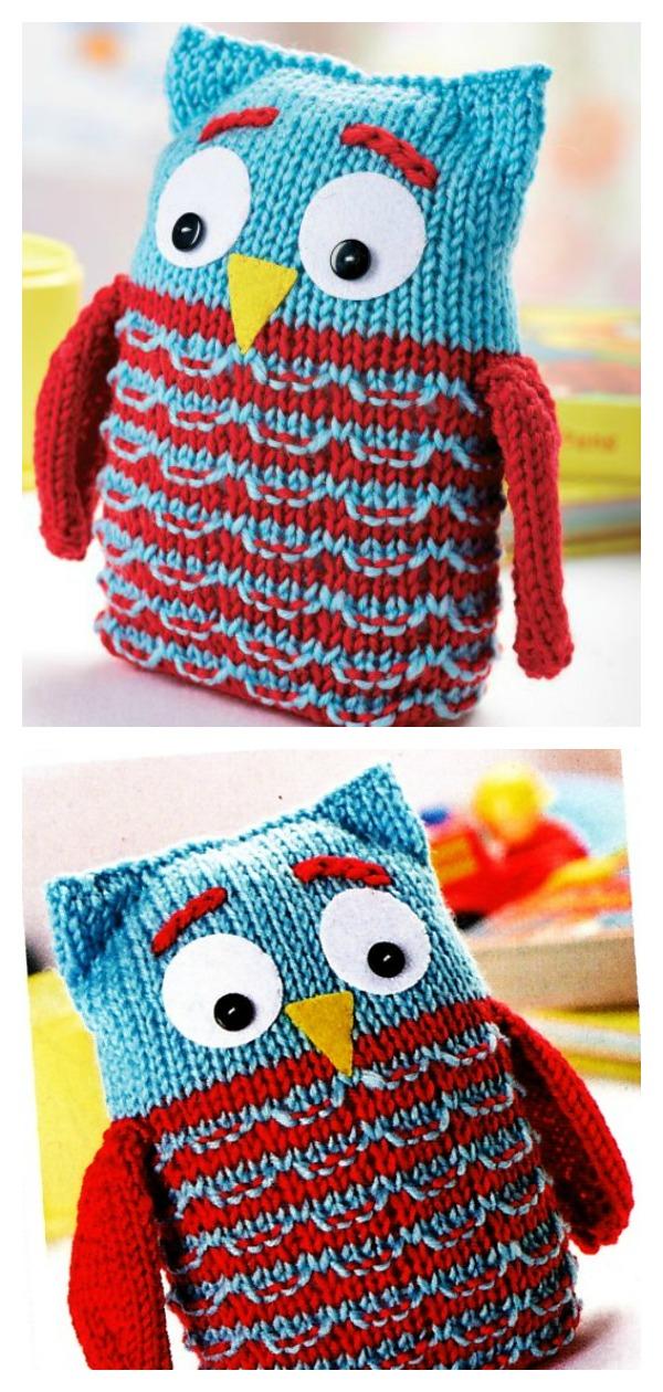 Sidney Owl Toy Free Knitting Pattern
