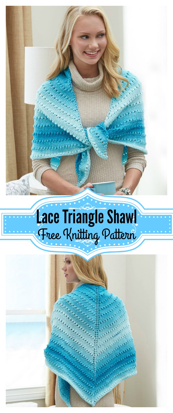 Simple Lace Triangle Shawl Free Knitting Pattern