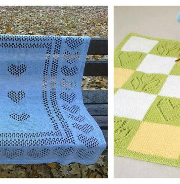 Sweet Hearts Baby Blanket Knitting Pattern Free and Paid