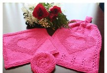 Two Hearts as One Kitchen Hanging Hand Towel Free Knitting Pattern