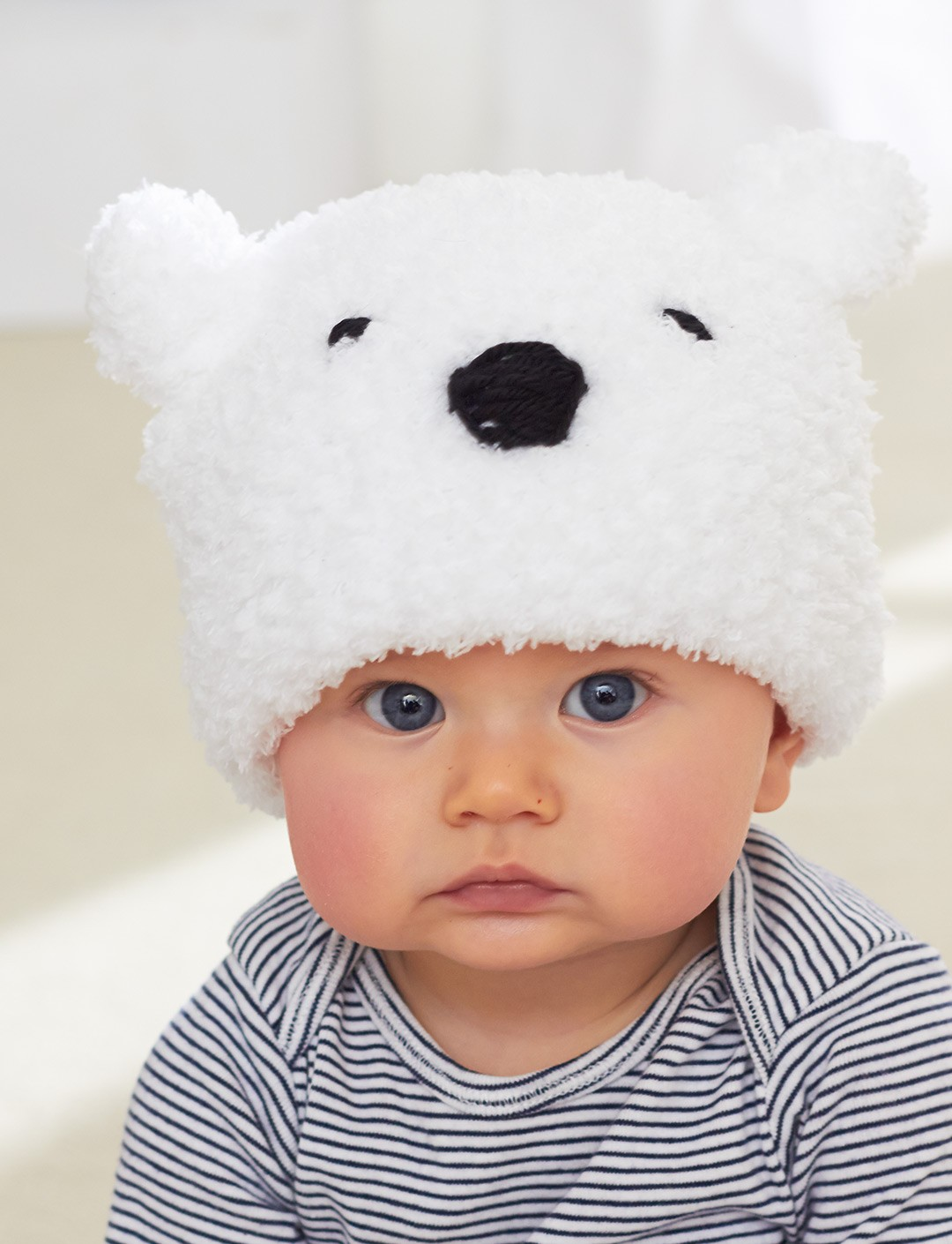 Polar Bear Baby Hat Free Knitting Pattern