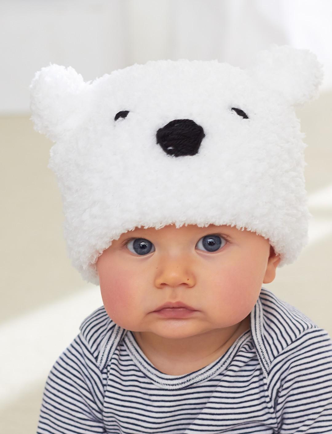 Polar Bear Baby Hat Free Knitting Pattern