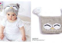 Cute Owl Baby Hat Free Knitting Pattern